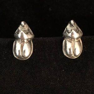 UNOde50 Almost Nothing Silver Beetle Stud Earrings